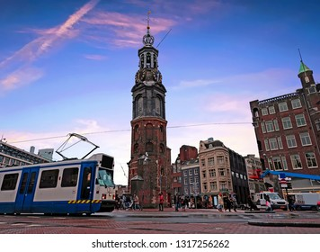City scenic from Amsterdam in the Netherlands with the Munt tower