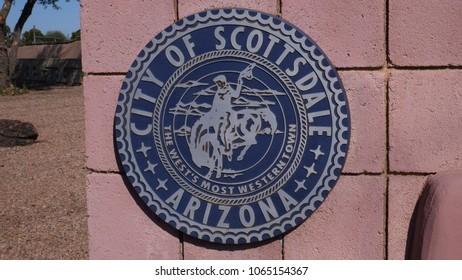 City of Scottsdale Sign. Scottsdale, Arizona, United States of America. April 9, 2018. T