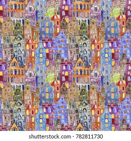 City seamless pattern can be used for wallpaper, website background, wrapping paper. Hand drawn pattern is repetitive texture with houses. City landscape bright pattern. Urban design.