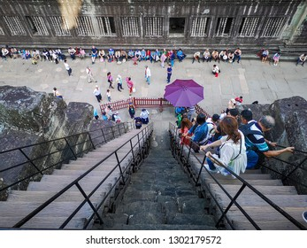 City Seamreap Country Combodia 03/11/2018 The steep stairs of Angkor wat