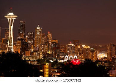 the city of Seattle by night , skyline