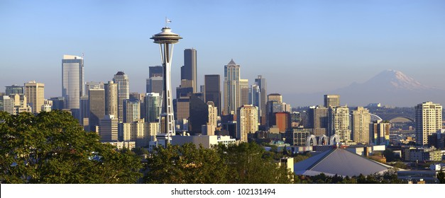 City of Seattle panoramic view and Mt. Rainier.
