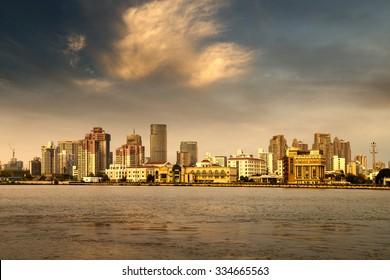 City in the setting sun