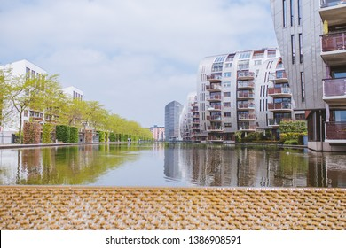 The city of 's-Hertogenbosch (Den Bosch) in the Netherlands, North Brabant. Modern architecture. House-sails standing in the water. Apartment buildings. Architect Anthony McQuirk.
