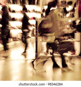 city shopping people crowd at marketplace shoe shop abstract background