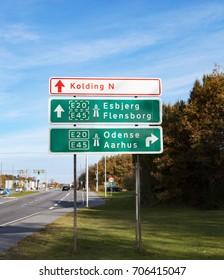 City sign in Denmark, Kolding