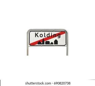 City sign exit, Kolding city in Denmark