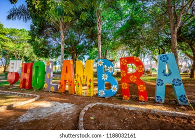 City sign in Holambra, Brazil. Holambra is the major flower production and dutch immigrant citizens in Brazil.