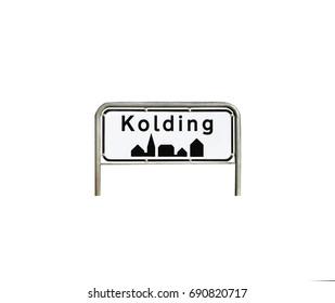 City sign into Kolding city in Denmark