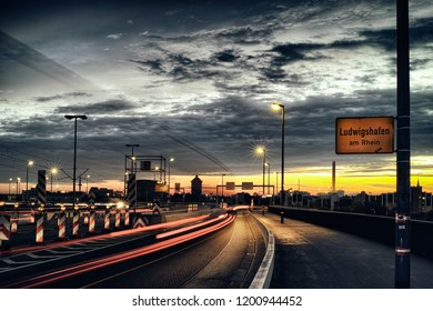 City Sign Ludwigshafen Bridge Mannheim Rhine Transport logistic night time exposure