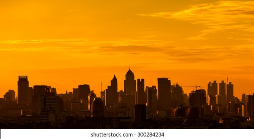 City silhouette against the sky on a sunset. Bangkok city.