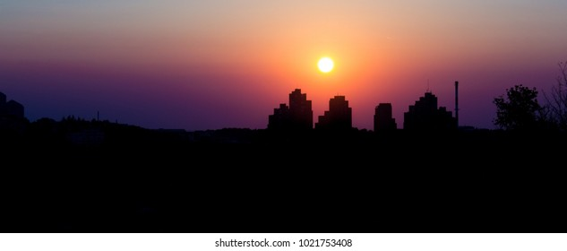 City silhouette at sunset, Belgrade, Serbia view from Strazevica hill