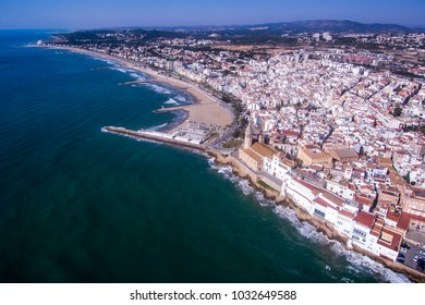 City of Sitges. Aerial view. Photographed with a drone