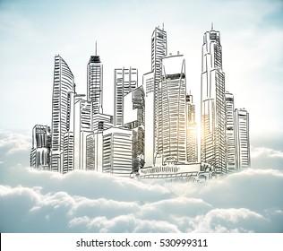 City sketch in cloudy sky. Urban art concept