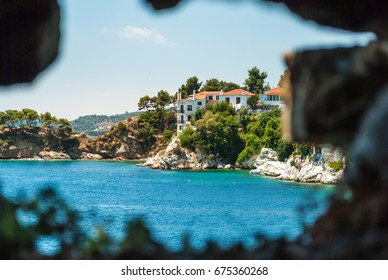 City Skiathos, Greece, with white authentic houses and beautiful nature