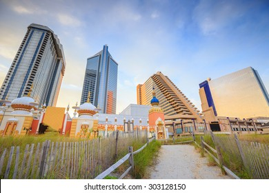 The city skyline  in Atlantic City, New Jersey.