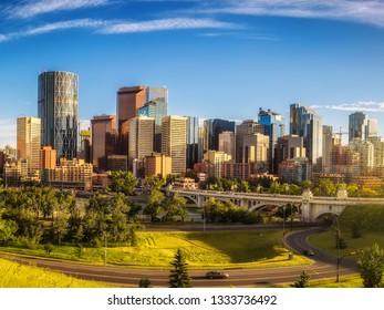 City skyline of Calgary in Alberta, Canada.