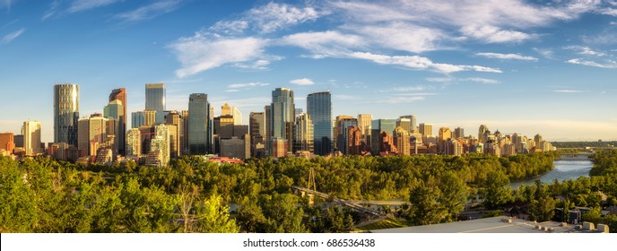 City skyline of Calgary with Bow River, Alberta, Canada