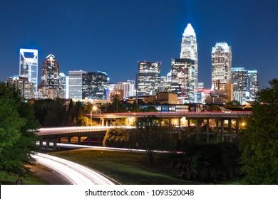 City skyline of Charlotte North Carolina at Night