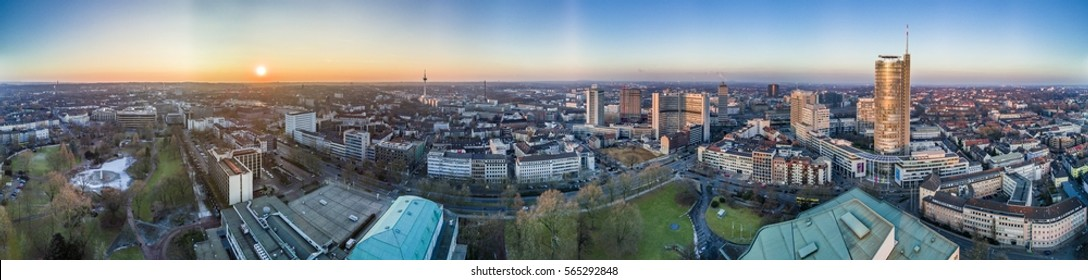 The city skyline of Essen during sunset, aerial