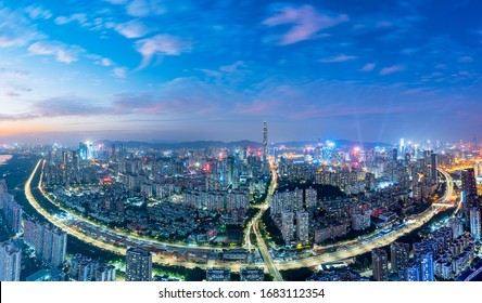 City Skyline in the Evening of Nanshan, Shenzhen, Guangdong, China