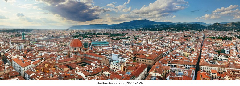 City skyline in Florence rooftop view in Italy panorama