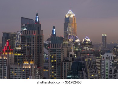 City skyline of the city with high buildings.