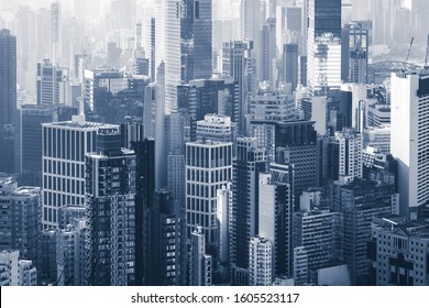 city Skyline of Hongkong -  skyscraper buildings in downtown business district