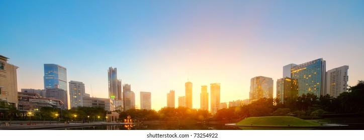 City skyline of the Kuala Lumpur at sunrise. Malaysia