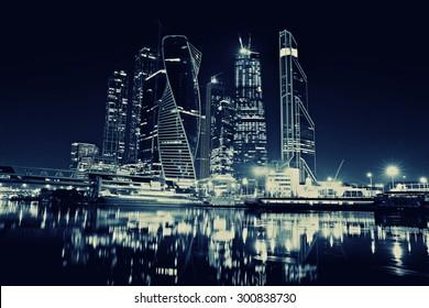 city skyline city lights moscow city landscape