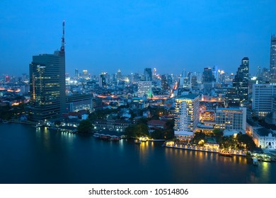 City skyline at night. Bangkok Thailand.