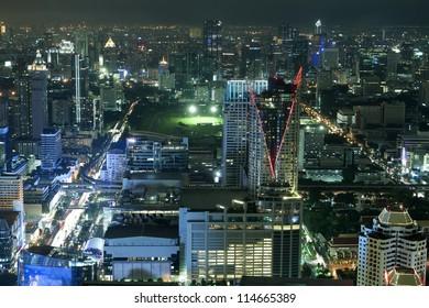 City skyline at night Bangkok Thailand.
