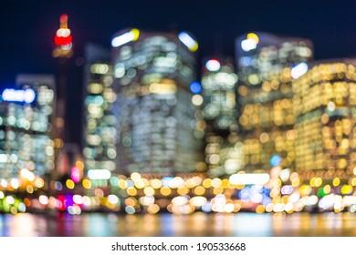 City Skyline at Night- Blurred Photo bokeh