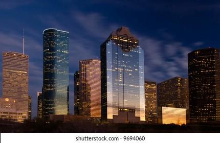 City skyline at night fall