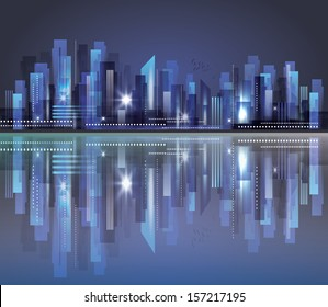 City skyline at night. Raster version