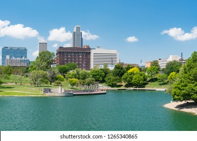 City skyline of Omaha Nebraska from the Heartland of America Park