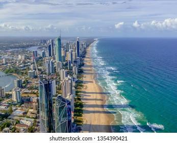 City skyline on the Gold Coast beach