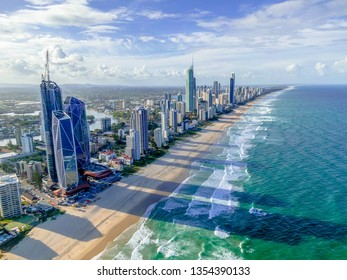 City skyline over the ocean