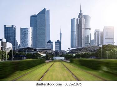 city skyline and railway