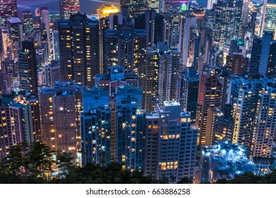 city skyline with residential district at night in China.