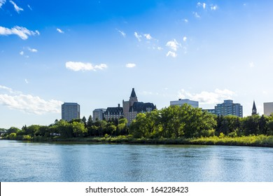 The city skyline of Saskatoon, Saskatchewan, Canada