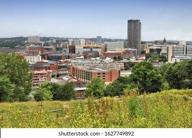 City skyline in Sheffield, Yorkshire, United Kingdom.
