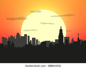 City skyline silhouette at sunset. illustration