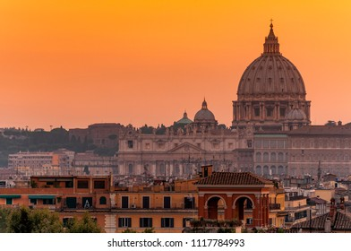 City skyline and St. Peter's Basilica at sunset, Rome, Lazio, Italy