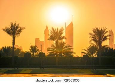 The city skyline in the sunlight. Dubai. Summer 2016.