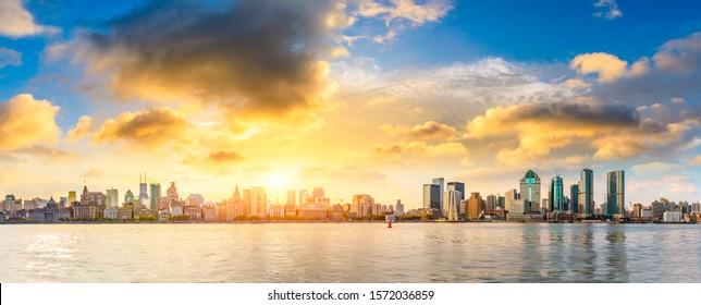 City skyline and sunset beautiful sky in Shanghai