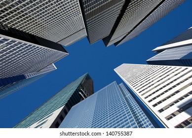City skyline under the blue sky