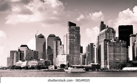 city skyline, vintage monochrome