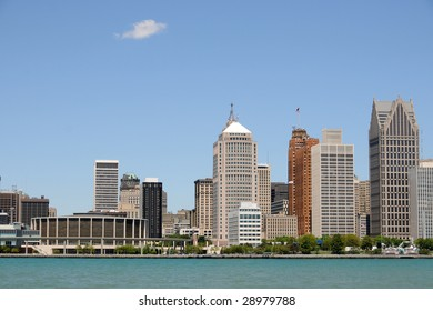 City skyline and waterfront, Detroit, Michigan