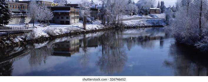 City of Snohomish with a Light Snow, Snohomish County, Washington, USA